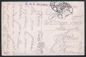 1916 Tábori posta képeslap K.u.k. Infanterieregiment No.32 + FP 90 a