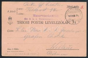1915 Tábori posta levelezőlap Reserveeskadron des k.u.k. Husarenregiment + TP 97