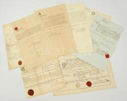 cca 1850-1890 Kis okmány tétel: számlák, igazolások, stb., egy részük viaszpecséttel