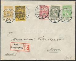 1914 Árvíz bélyegek ajánlott levélen