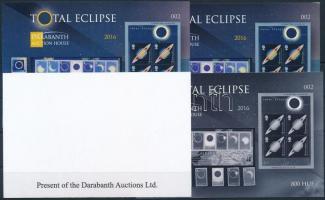 2016 Total Eclipse (Napfogyatkozás) angol nyelvű emlékív 4 db-os garnitúra azonos sorszámmal (002)