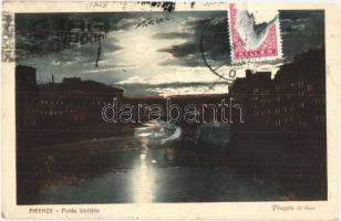 Firenze, Florence; Ponte Vecchio / old bridge at night, TCV card