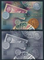 2016 70 éves a Forint karton próbanyomat emlékívpár sorszám nélkül (készült 4 pár)