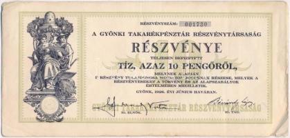 Gyönk 1926. A Gyönki Takarékpénztár Részvénytársaság részvénye 10P értékben, szelvényekkel, szárazpecséttel T:III szakadás