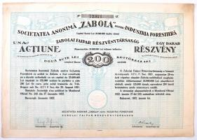 Románia / Bukarest 1922. Zabolai Faipar Részvénytársaság részvénye 200L értékben, szelvényekkel, szárazpecséttel T:II- Romania / Bucharest 1922. Zabola Wood Industry Company Ltd. share about 200 Lei with coupons, embossed stamp C:VF