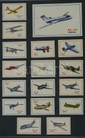 198+1 db szovjet és német gyufacímke, kartonra ragasztva, különféle témákban: repülők, reklám, karikatúra