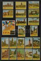 200+2 db német gyufacímke, kartonra ragasztva, különféle témákban: IFA, SPAR, reklám, stb.