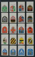 193+1 db német és szovjet gyufacímke, kartonra ragasztva, különféle témákban: címerek, női divat, reklám, stb.