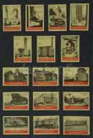 192+1 db belga gyufacímke, kartonra ragasztva, különféle témákban: épületek, zászlók, stb.