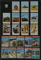 196 db osztrák és holland gyufacímke, kartonra ragasztva, különféle témákban: katonák, zászlók, reklám, stb.