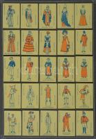 198 db belga gyufacímke, kartonra ragasztva, különféle témákban: divat, sport, reklám