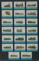 199 db belga gyufacímke, kartonra ragasztva, különféle témákban: vasút, baromfi, szobrok, régi fegyverek, stb.