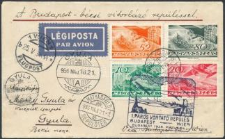 1936 Budapest - Wien 1. páros vontató repülés levél / 1st hauling flight airmail cover