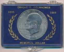 Amerikai Egyesült Államok 1971D 1$ Cu-Ni Eisenhower eredeti tokban T:2 USA 1971D 1 Dollar Cu-Ni Eisenhower in original case C:XF Krause KM#203