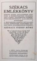Székács Emlékkönyv. Székács József születésének százéves, a gyámintézetnek félszázados, a theol. akadámiának harminc éves emlékünnepe alkalmából. Pozsony-Budapest, 1912, Magyarhoni Ágostai Hitvallású Evang. Keresztyén Egyetemes Egyház Theol. Akadémiának Székács József-Köre, Hornyánszky Viktor Cs. és Kir. Udv. Könyvnyomdája. Kiadói kopottas, foltos egészvászon kötés, az elülső védőlapon tulajdonosi névbejegyzéssel, az elülső előzéklap foltos, fekete-fehér fotókkal, festett lapélekkel.