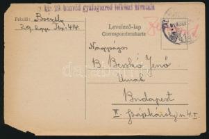 1918 Tábori posta levelezőlap / Field postcard M.kir.29. honvéd gyalogezred lelkészi hivatala + TP 414