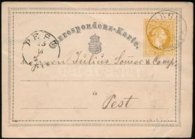 1869 Díjjegyes levelezőlap ,,CSURGÓ SOMOGY M