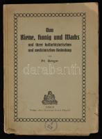 Fr. Berger: Von Biene, honig und Machs und ihrer kulturhistorischen und medizinischen Bedeutung. Zürich, 1916, Art. Institut Orell Füssli. Kiadói papírkötés, a borítója szakadozott, és a hátsó borító elvált a könyvtesttől, a gerince szakadt, hiányos, felvágatlan lapokkal.