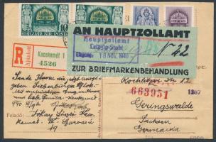 1940 Ajánlott tarifahelyes levelezőlap Mátyás blokkal bérmentesítve Németországba, cenzúrázva, vámigazolással / Mi block 8 on registered cover