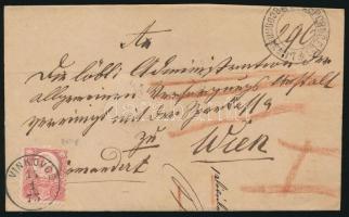 1873 5kr és 10kr (kettészakadt / teared) ajánlott levélen kétnyelvű bélyegzéssel Bécsbe / on registered cover with bilingual cancellation to Vienna VINKOVCE