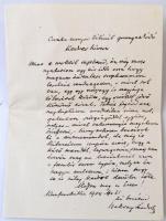 1904 Baksay Sándor (1832-1915) református püspök, szépíró, költő, műfordító, a Magyar Tudományos Akadémia tagja köszönő levele püspökké választása alkalmából írt gratulációra. Egy beírt oldal.