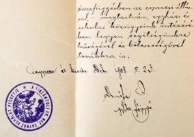 Dicsőfi József (1859-?) debreceni lelkész, kutató saját kézzel írt levele és általa aláírt egyházmegyei jegyzőkönyv