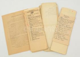 1945-1951 Igazolással, kitelepítéssel kapcsolatos iratok, eredetiek és másolatok vegyesen, köztük igazoló nyilatkozatok is