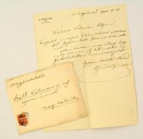 1904 Fráter Imre nagyváradi főorvos, kórházigazgató saját kézzel írt levele Szél Kálmán nagyszalontai esperesnek melyben kitüntetéséhez gratulál.