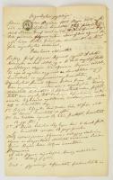 1855 Magyar nyelvű, kézzel írt végrehajtási jegyzőkönyv, 6 kr okmánybélyeggel