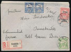 1915 Ajánlott levél Turul-Hadisegély vegyes bérmentesítéssel, hátulján levélzáróval / Registered cover KIRÁLYHIDA - Innsbruck