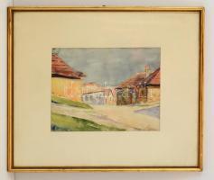 Olvashatatlan jelzéssel: Pécsi utca részlet. Akvarell, papír, üvegezett keretben, 22×30 cm