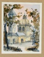 Kovács Z. Katalin (?-):Templom. Akvarell, papír, jelzett, 21×15 cm