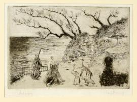 Láng Rudolf (1904-1991): Debussy. Rézkarc, papír, jelzett, 19×28 cm