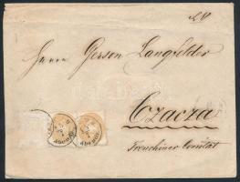 ~1863 Valószínűleg 3kr + 15kr bélyeggel bérmentesített boríték melyről 1 bélyeg hiányzik ,,PESTH Abends - Czacza