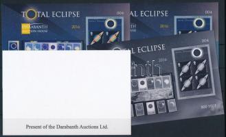 2016 Total Eclipse (Napfogyatkozás) angol nyelvű emlékív 4 db-os garnitúra azonos sorszámmal (005)