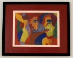 Cs. Németh Miklós (1934-2012): Ifjúság. Tempera, papír, jelzett, üvegezett keretben, 19×24 cm