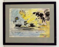 Antal Irén (1903-1999): Madarak, napraforgók. Akvarell-szén, papír, jelzett, üvegezett keretben, 30×40 cm