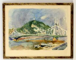Somlai Vilma (1938-2007): Szabadság híd. Akvarell, papír, jelzett, üvegezett keretben, 35×49 cm