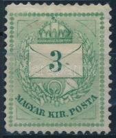 1874 3kr gyöngysorjavítással / Mi 16 retouche (betapadás, elvékonyodás / gum disturbance, thin paper)