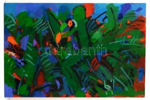 Szilvássy Nándor (1927-2011): Zöld madár. Olaj, funér, jelzett, 50×70 cm