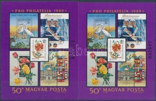 1989 Pro Philatelia blokk 3 és 4 mm számmal (3.700)
