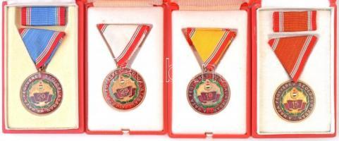 1965. Szolgálati Érdemérem - A Haza Fegyveres Szolgálatában 10, 15, 20 és 25 év után zománcozott Br kitüntetés mellszalagon, tokban (4xklf) három szalagsávval T:2