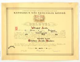 1948 Wittinghoff Saroltának (?-?) a budapesti Katolikus Női Szociális Képző általános szociális munkási kinevező oklevele, Slachta Margit (1884-1974) elnök, politikus és Szappanyos Béla (1913-2000) érseki biztos aláírásaival, 2 forint okmánybélyeggel.