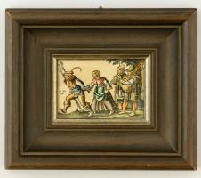 Régi metszet kézzel készült másolata, fa keretben, 10x11 cm