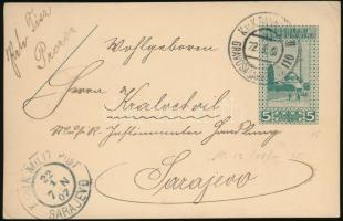 1907 Díjjegyes levelezőlap ,,GRAVOSA-SARAJEVO 110 vasúti bélyegzéssel