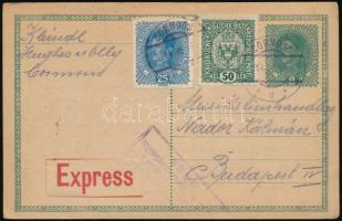 1918 Cenzúrás expressz levelezőlap Budapestre