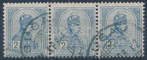 1904 Turul 2K hármascsík 2. vízjelállás (52.500, MBK 3 x 500 pont!)