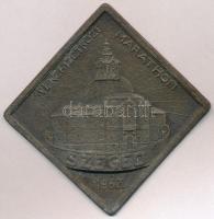 1962. Szeged - VI. Nemzetközi Marathon fém plakett (84x84mm) T:2