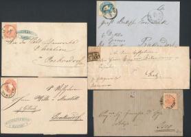 5 db osztrák klasszikus levél 1., 2. és 3. kiadású bélyegekkel