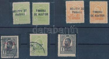 Románia 1915-1918 5 db bélyeg fordított felülnyomással